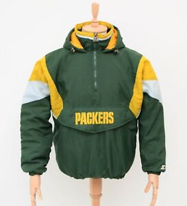 Men's Vintage Green Bay PACKERS Starter Pullover Jacket Hooded Anorak Size M