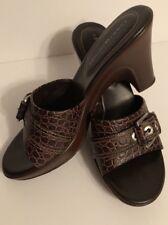 0ad8b3755bf4 Tommy Hilfiger Womens Brown Open Toe Slip On Sandal Heel Buckle Sz. 9 M NWOT