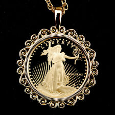 US 1989 1/10 oz Gold American Eagle Gem BU Unc Proof Coin 14K Gold Necklace NEW