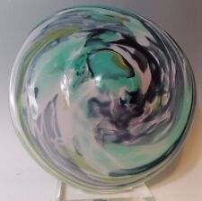 Tim Lazer 1988 Pink Green Black Splash Art Glass Statement Bowl Disk 13""