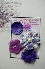 HANDMADE 5 Flower Mix LILAC PURPLE Organza Satin Lace 30-70mm NjoyfullCrafts