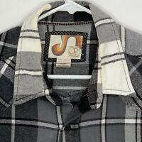OP Mens Flannel Shirt LS Black White Plaid XL