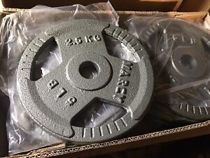 50 lbs of 5lbs Barbell Standard Weightlifting Plate - Gray 10 Weights In Box