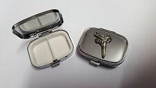 Gun And Gunbelt PP-W08 English Pewter Emblem on a Rectangular Metal Pill Box
