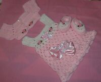 HANDMADE CROCHET BABY DRESS.SWEATER HEADBAND-SHOES PINK by ROCKY MOUNTAIN MARTY