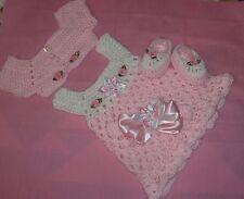 HANDMADE CROCHET BABY DRESS.SWEATER HEADBAND-SHOES PINK by ROCKY MOUNTAIN MARTY