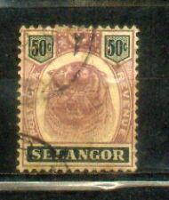 """FMS Malaya Malaysia Selangor 1895-99  Old """"Tiger"""" Stamps  50c CV Rm 100"""