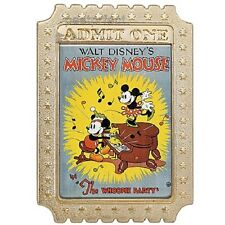 Disney LE 350 Pin THE WHOOPEE PARTY ADMIT ONE TICKET Mickey Minnie Piano Poster