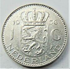 1956 NETHERLANDS Juliana, Silver 1 Gulden grading EXTRA FINE.
