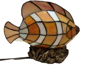 Stained Glass Fish Lamp Night Light Vibrant Colors