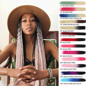 """24"""" Ombre Thin Senegalese Twist Braids Synthetic Crochet Braiding Hair Extension"""