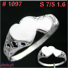#1197 2 HEART LOVE Forever Promise RING 925 Sterling Silver Finger Hand Jewelry