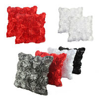 Satin Rose Flower Car Sofa Square Cushion Covers Throw Pillow Case Home Decor