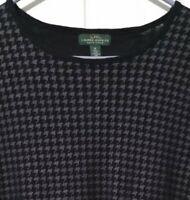 Ralph Lauren Houndstooth Print Top Elbow Patch Black Long Sleeve Women Size XL