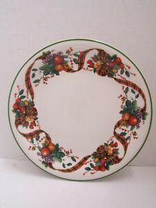 "2 Dinner Plates William James 10"" Stoneware Christmas Fine Plaid Ribbon & Fruit"