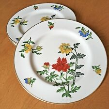 Lot 4 Woodmere Studio Salad Plate Floral Jewels Blue Red Yellow Flower Gold Trim