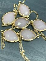 "Vintage Long Sweater Necklace Chain Beaded Gold Tone 34"" Rose Quartz Stone"