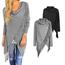 Moda borla Batwing puente flojo suéter caliente capa chal bufanda abrigo mujer