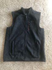 ORVIS Mens L Full Zip Fleece Vest Jacket Dark Gray Nylon Sherpa