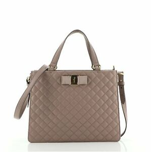 Salvatore Ferragamo Tracy Bow Tote Quilted Leather