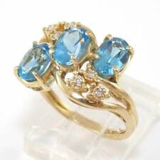 Solid 14K Yellow Gold Natural Diamond Blue Topaz Cluster Ring Size 6.5 GEJ