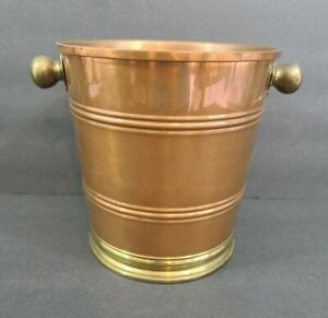 Vintage Copper & Brass Ice Bucket Barware No Lid