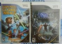 Star Wars Clone Wars + Force Unleashed  Nintendo Wii Working Game Lot