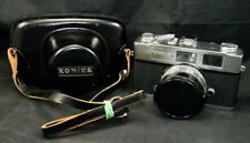 Konica Auto S2 Chrome Silver SLR Camera with Hexanon 45mm Lens + Leather Case