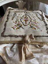 Antike Seiden Wäschetasche Antique Lingerie Bag Embroidery Shabby Boudoir Chic