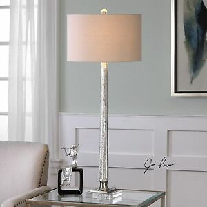 """FIONA XXL 39"""" RIBBED MERCURY GLASS TABLE BUFFET LAMP CRYSTAL BASE UTTERMOST"""