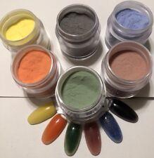 coleccion de polvos acrilicos cambian de color  y brillan en la oscuridad