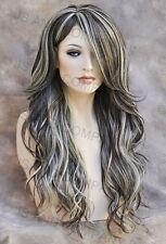 Long Loose wavy HEAT SAFE Full Human Hair Blend WIG Brown Blonde mix wnta 6-613
