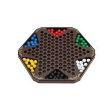 """Hexagon Wood Chinese Checkers Game with Wooden Pegs Ancient Chinese Checkers 12"""""""