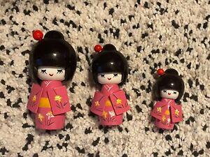 Set Of 3 Pink Japanese Girls Kokeshi Wooden Pattern Kimono Dolls with hairpin