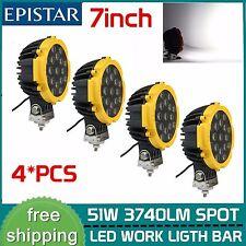 4X 51W Round Led Light Pod 7inch Spot Work Off Road Bar Bumper Fog Lamp Yellow