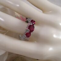 Vintage Jewellery Gold Ring with Rubies White Sapphires Antique Deco Jewelry P
