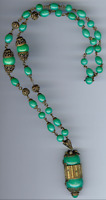 VINTAGE 1930'S CZECH BRASS AND JADE GREEN BEADS & PEARLS NECKLACE
