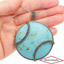 Estate Turquoise Marcasite Sterling Silver Fancy Large Round Pendant 30.4 Gr NR