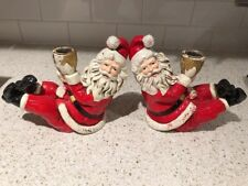 Vintage Christmas Santa Clause Candle Holders paper Chalkware Japan Set
