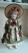 Rare Old Collectible Leonardo Collection Porcelain Soft Body Doll Green Dress Ho