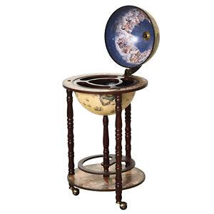 MDF Retro Globe Drinks Cabinet w/ Wheels Brown