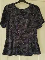 Womens Gok Fitted Peplum Top blouse navy blue flowers butterflies size 12 new.