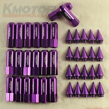 Purple 20PC M12X1.5 Cap Spiked Extended Tuner 60mm Aluminum Wheels Rims Lug Nuts