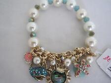 Betsey Johnson ' betsey and the sea' fish~shell~starfish bracelet, NWT