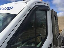 To Fit 2014+ Ford Transit Smoke Tinted Window Wind Rain Deflectors - Adhesive