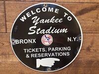 "VINTAGE  NEW YORK YANKEES STADIUM BASEBALL HEAVY PORCELAIN SIGN 12"""
