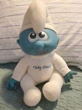 1984 HASBRO BIG BABY SMURF DOLL PLUSH LARGE PEYO BLUE