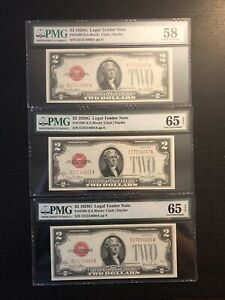 3 CONSECUTIVE SERIAL NUMBERS HIGH GRADE 1928G SERIES RED SEAL $2 BILLS 65 EPQ