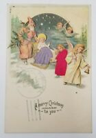 Embossed Silk Embellished Xmas Postcard St Nicholas Angels Children Cherubs C2