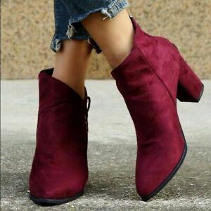 Ladies Casual Short Boots Block Heel Faux Suede Zip Up Biker Ankle Boots